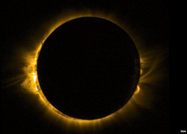 Eclipse captado pelo satélite Proba-2 da Agência Espacial Europeia